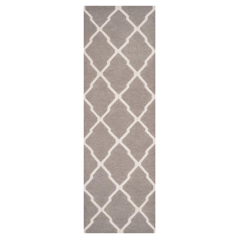 Taza Dhurry Rug - Dark Grey/Ivory - (2'6x12') - Safavieh, Dark Gray/Ivory