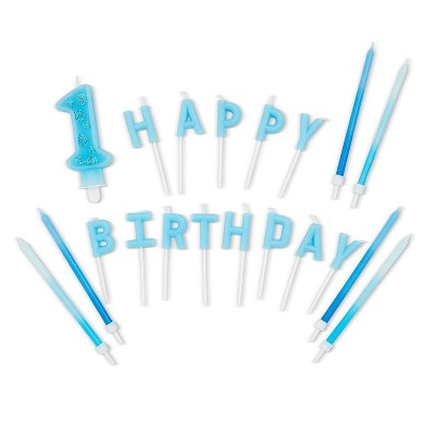 """Blue Panda 38-Piece Blue Ombre """"1 Happy Birthday"""" Cake Topper Letters & Birthday Cake Candles for 1st Birthday"""