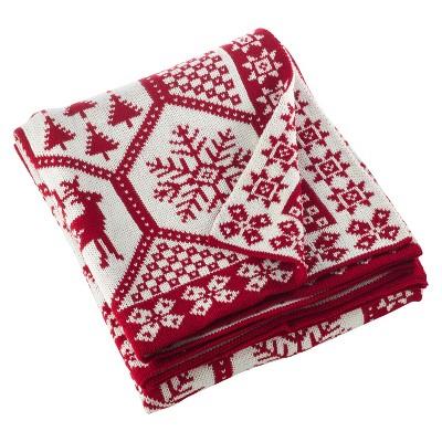 Red Sevan Christmas Design Knitted Throw Blankets (50 x60 )- Saro Lifestyle®