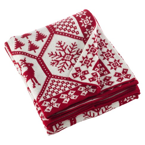 Christmas Blankets.Red Sevan Christmas Design Knitted Throw Blankets 50 X60 Saro Lifestyle
