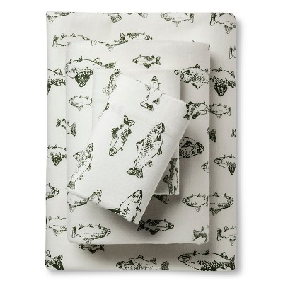King Flannel Sheet Set Green School of Fish - Eddie Bauer
