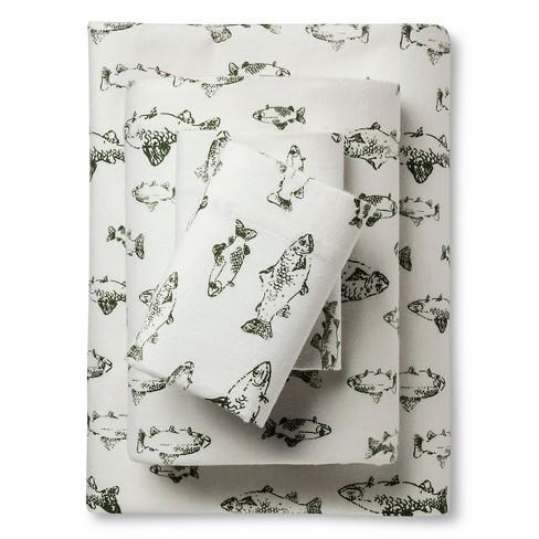 Full Flannel Sheet Set Green School Of Fish Eddie Bauer Target