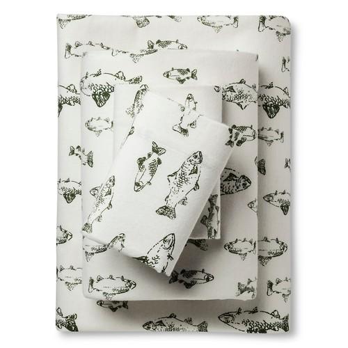 Queen Flannel Sheet Set Green School of Fish - Eddie Bauer