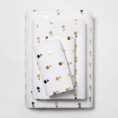 Queen Microfiber Tulip Print Sheet Set White/Gold - Room Essentials™