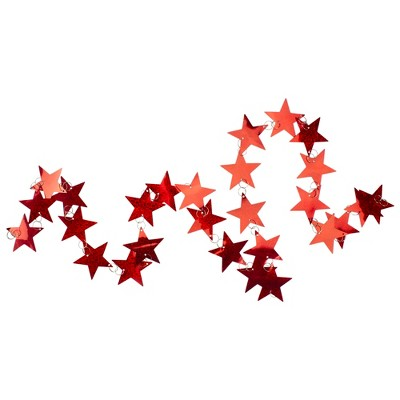 """TJ's Christmas 6' x 2"""" Holographic Red Star Shaped Christmas Garland - Unlit"""