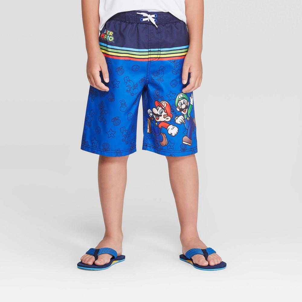Image of Boys' Super Mario Swim Trunks - Blue S, Boy's, Size: Small, MultiColored
