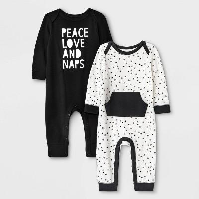 Baby Boys' 2pk 'Peace, Love & Naps' & Star Print Romper - Cat & Jack™ Black/White 0-3M