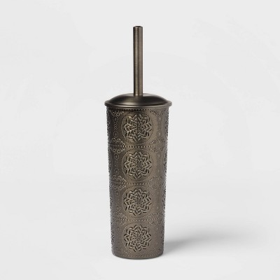 Punched With Embossed Solid Toilet Brush And Holder Set Dark Silver - Opalhouse™