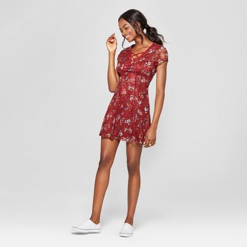 Women s Floral Print Lattice Front Lace Dress - Lots of Love by Speechless ( Juniors ) Wine 747d332e4