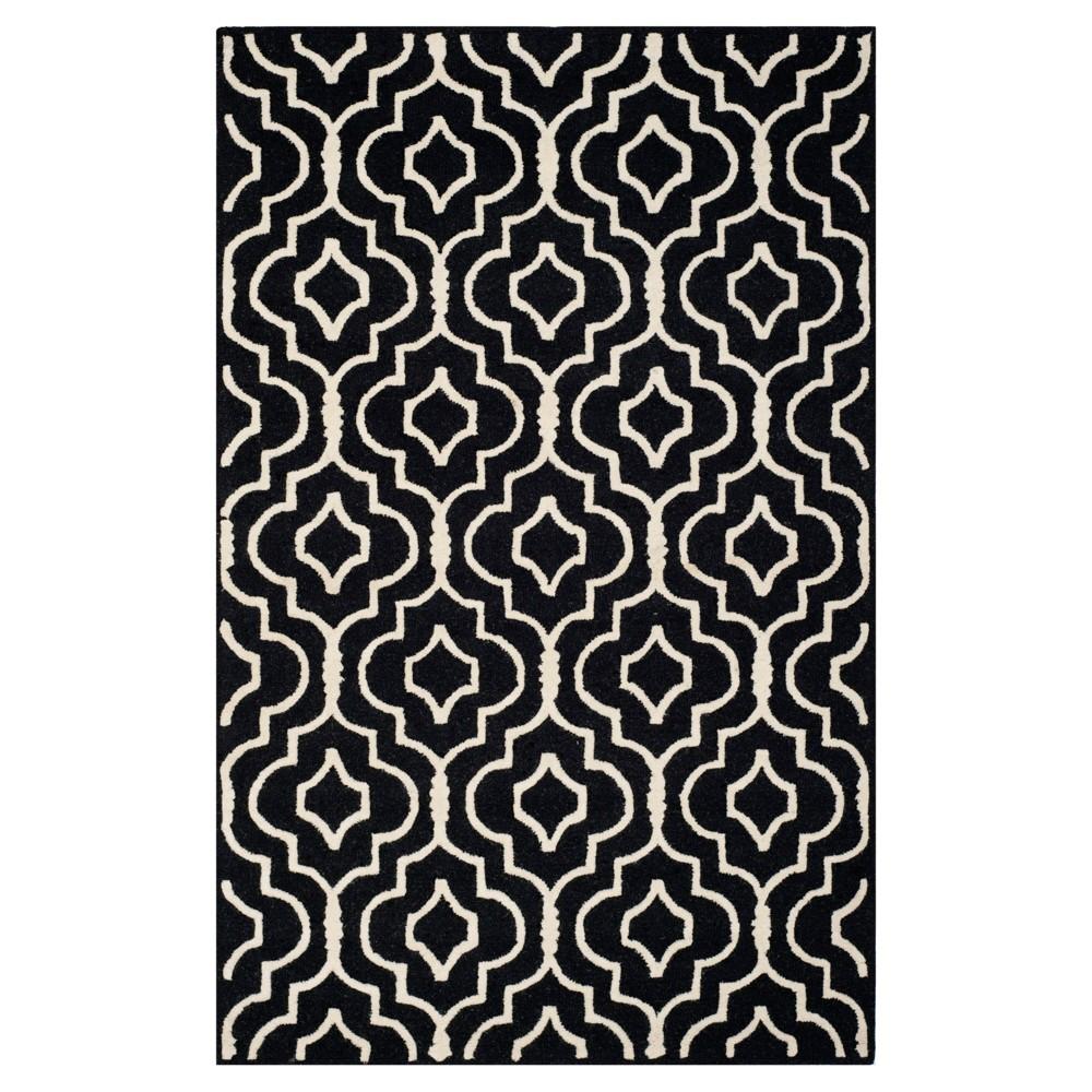 Tahla Texture Wool Rug - Black / Ivory (5' X 8') - Safavieh, Black/Ivory