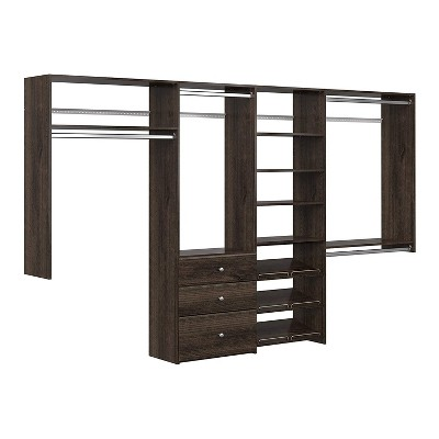 Easy Track Dual Tower Bedroom Closet Storage Wall Mounted Wardrobe Organizer Kit System with Shelves and Drawers, Truffle