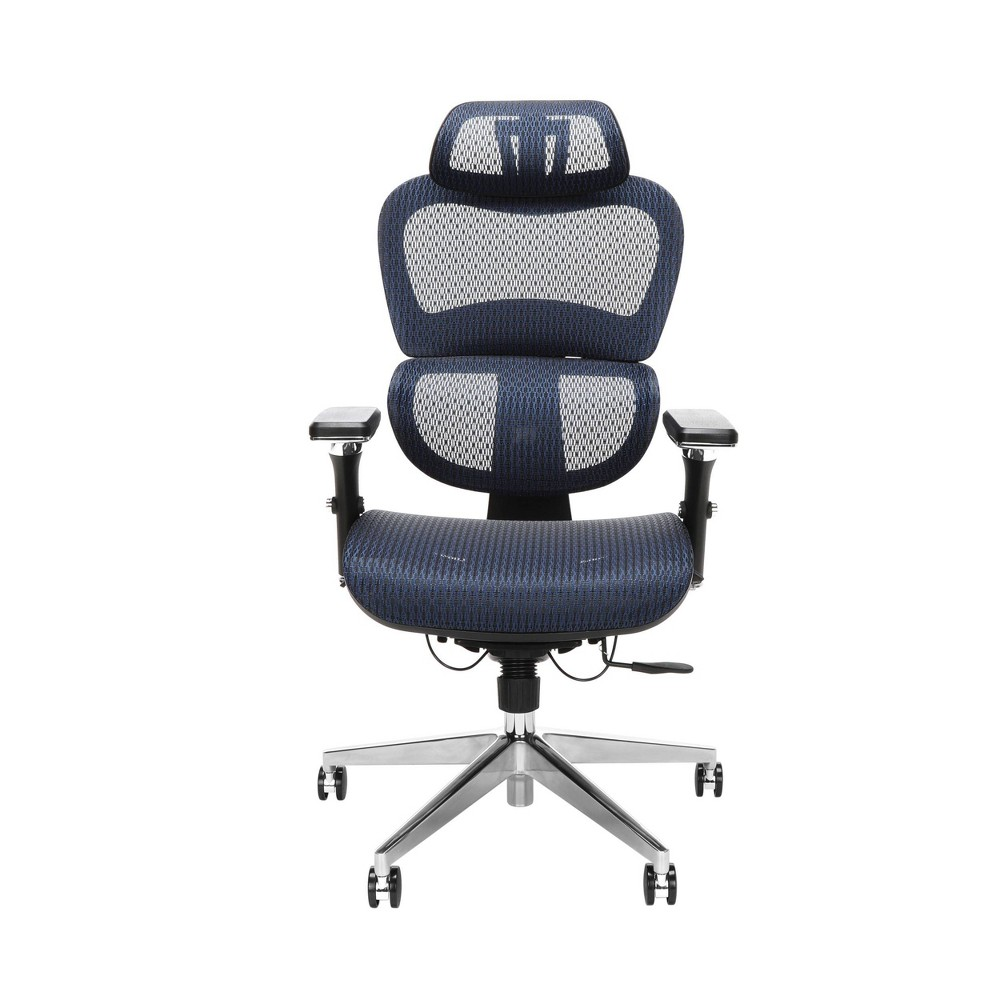 Ergo Office Chair Featuring Mesh Back and Seat with Head Rest Blue - Ofm