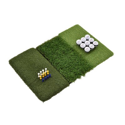 Rukket Sports Tri-Turf Golf Portable Outdoor Indoor Hitting Practice Turf Mat with Tees & Golf Balls