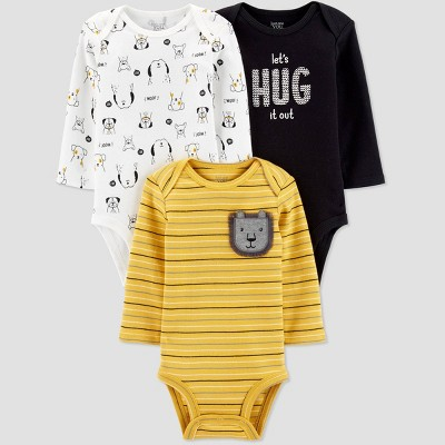 Baby Boys' 3pk Long Sleeve Bodysuits - Just One You® made by carter's Yellow Newborn