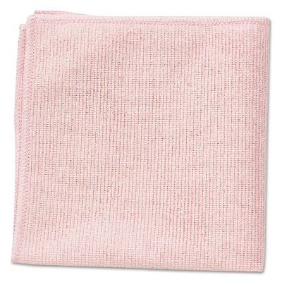 24ct Commercial Microfiber Cleaning Cloths Pink 16  x 16  - Rubbermaid