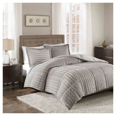 Gray York Brushed Faux Fur Comforter Mini Set (Full/Queen)