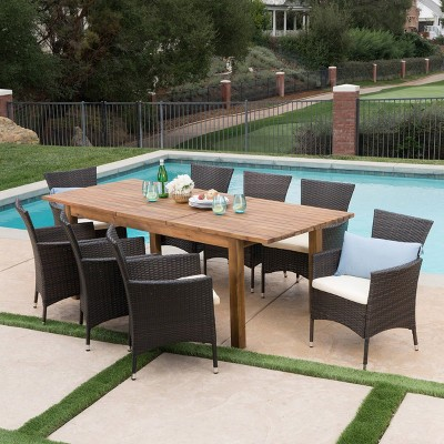 Oslo 9pc Acacia Wood & Wicker Patio Dining Set - Brown - Christopher Knight Home