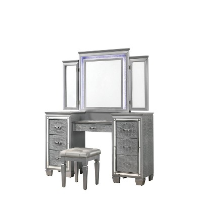 2pc Mallery Vanity Set with Stool Silver - HOMES: Inside + Out