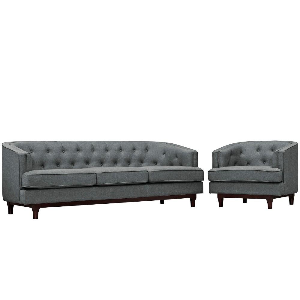 Coast Living Room Set Set of 2 Gray - Modway