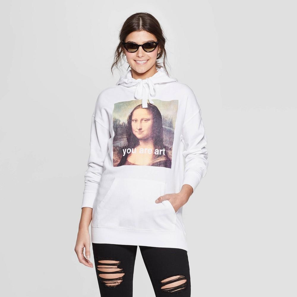 Women's Mona Lisa Screen Oversized Sweatshirt - Mighty Fine (Juniors') - White XL