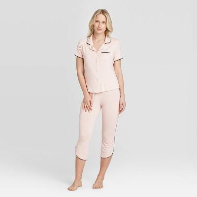 Women's Beautifully Soft Crop Notch Collar Pajama Set - Stars Above™ Soft Pink XL