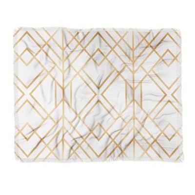 60 X50  Elisabeth Fredriksson Geo Throw Blanket Light Gold - Deny Designs