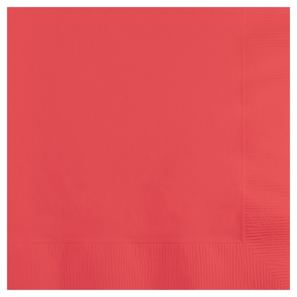 Image of 50ct Coral Napkins, Red, Disposable Napkins