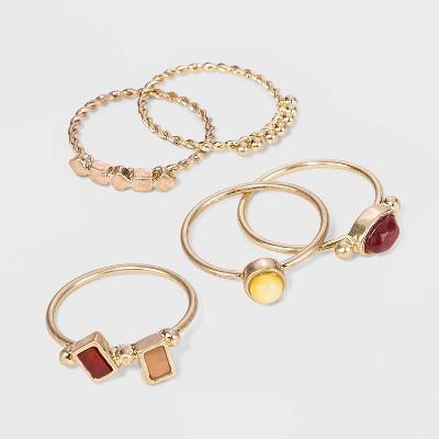 Semi-Precious Sunstone, Carnelian and Brown Lip Shell Multi Ring Set - Universal Thread™