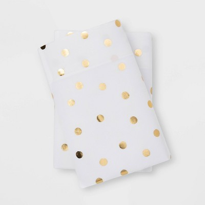 King Microfiber Printed Pattern Pillowcase Set Gold Dot - Room Essentials™