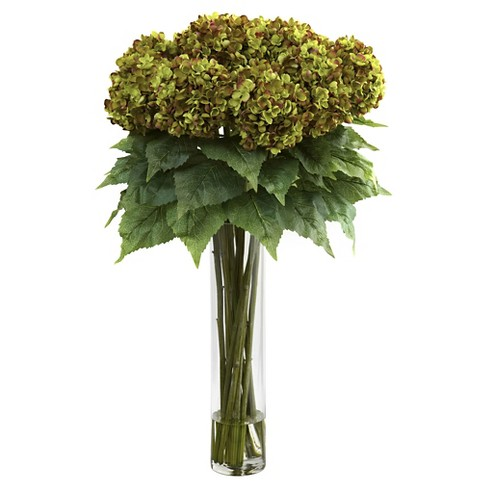 Hydrangea with Cylinder Glass Vase Silk Flower Arrangement - Green - image 1 of 1