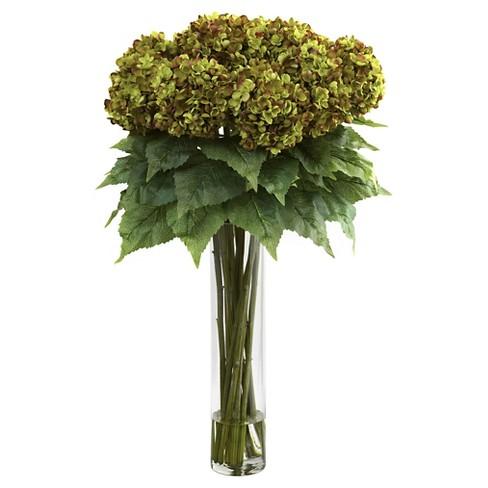 Hydrangea with cylinder glass vase silk flower arrangement green about this item mightylinksfo
