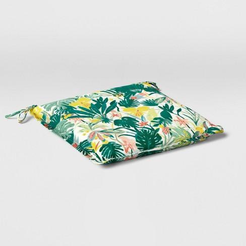 Opal Tropical Print Outdoor Seat Cushion DuraSeason Fabric™ White - Opalhouse™ - image 1 of 4