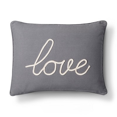 "Gray Love Throw Pillow (20"" X 20"")- Homthreads"