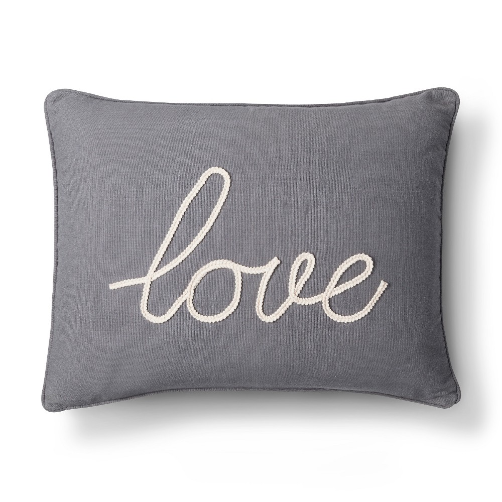 """Image of """"Gray Love Throw Pillow (20"""""""" X 20"""""""") - Homthreads"""""""