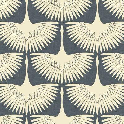 Tempaper Feather Flock Peel and Stick Wallpaper Denim Blue