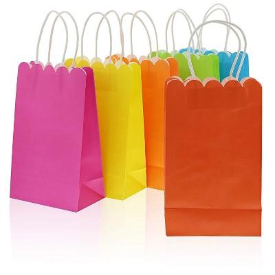 "Blue Panda 24-Pack Medium Neon Scalloped Kraft Paper Gift Bags with Handles, 6 Colors 9""x5.5"""