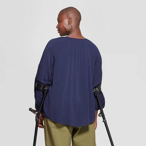 b3fb11c870 Women s Plus Size Long Sleeve V-Neck Poet Blouse - Ava   Viv™   Target
