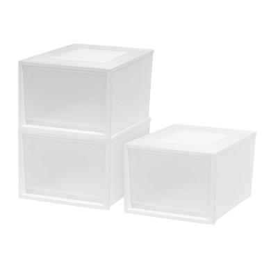 IRIS 3pk Plastic Storage Drawer Deep White