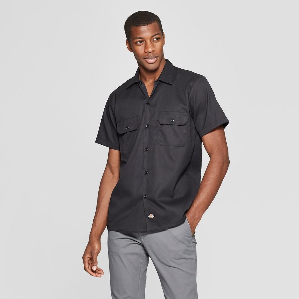 Dickies Men's Slim Fit Short Sleeve Button-Down Shirt - Black L