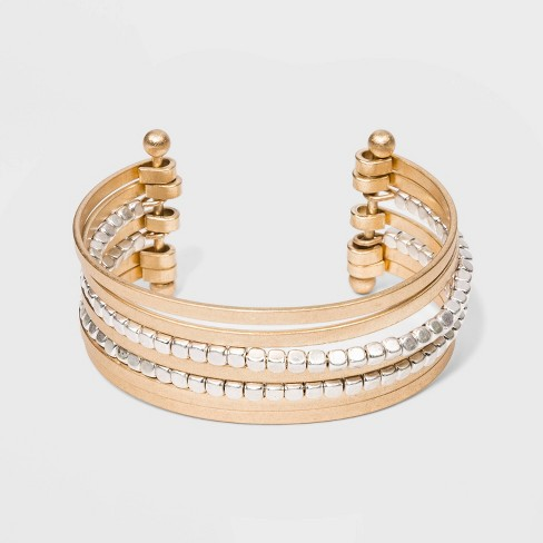 Textured Multi Row Cuff Bracelet - Universal Thread™ Worn Gold - image 1 of 1