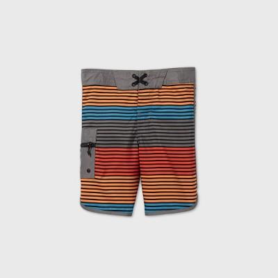 Boys' Dolphin Hem Board Striped Swim Trunks - art class™ Red