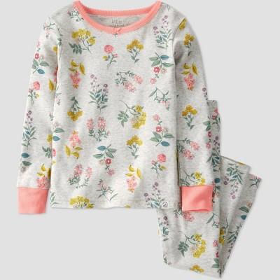 Toddler Girls' 2pc Botanical Pajama Set - little planet by carter's Gray