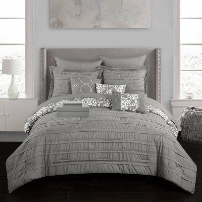 King 10pc Zarina Bed In A Bag Comforter Set Gray - Chic Home Design