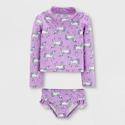Baby Girls' 2pc Long Sleeve Unicorn Rash Guard Set - Just One You® made by carter's Purple 3M