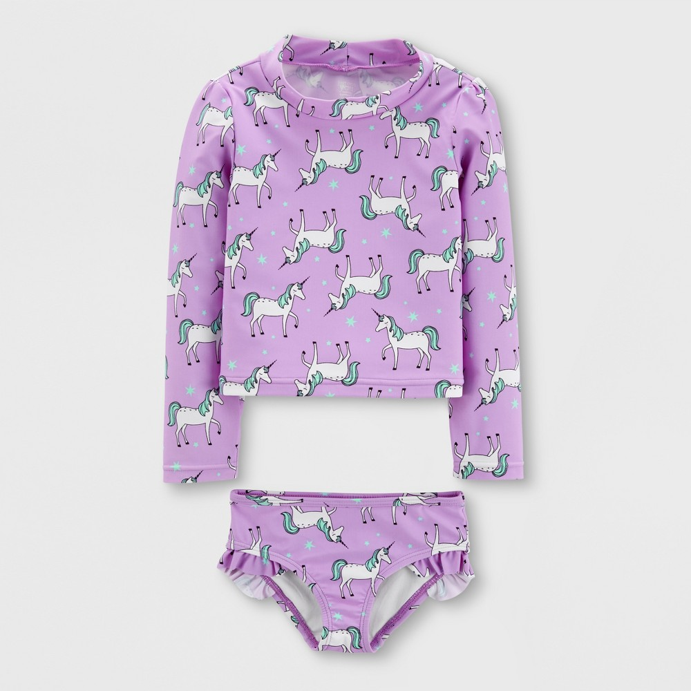 Baby Girls' 2pc Long Sleeve Unicorn Rash Guard Set - Just One You made by carter's Purple 6M