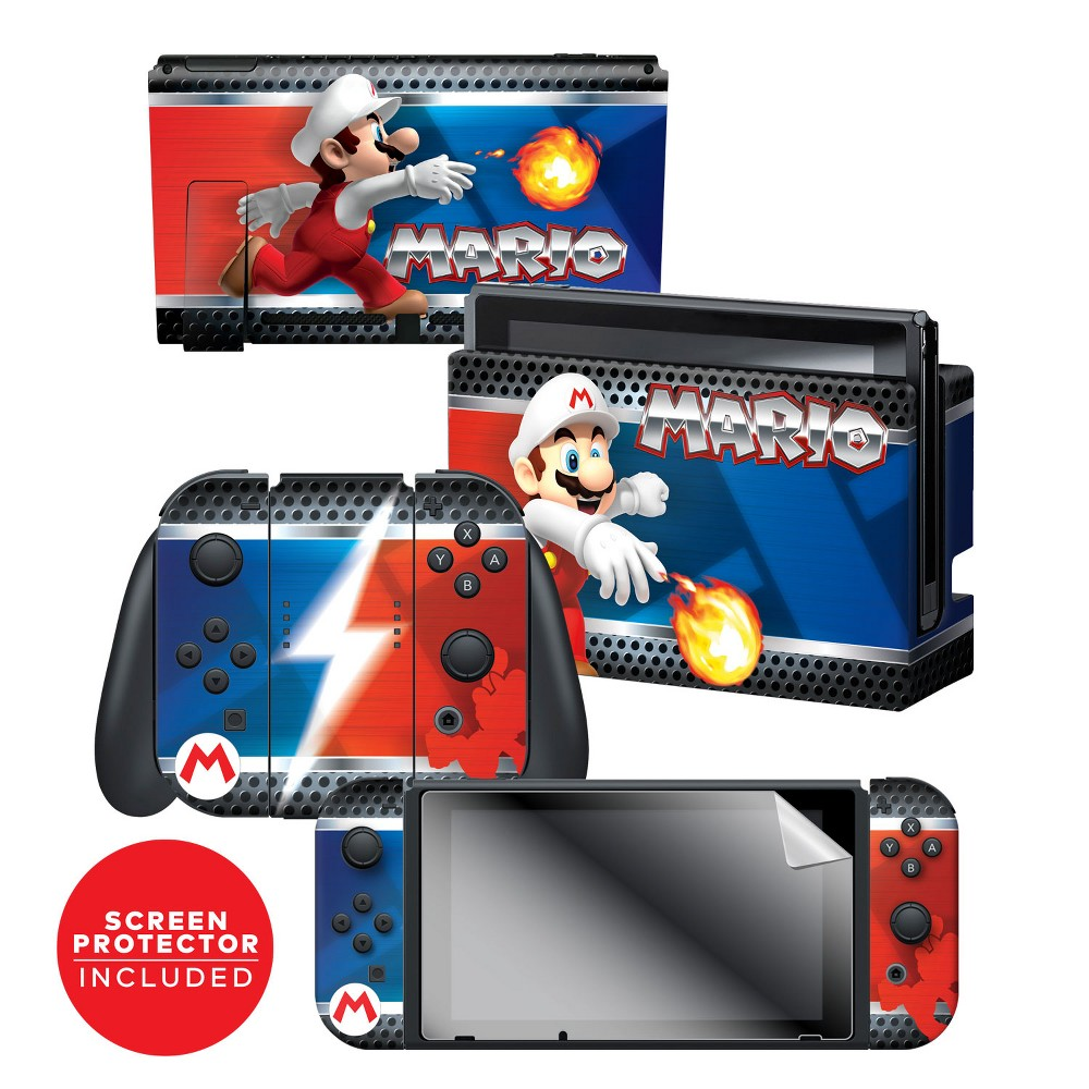 Nintendo Switch Super Mario Bros. Skin and Protector Set - Mario, Multi-Colored Nintendo Switch Super Mario Bros. Skin and Protector Set - Mario Color: Multi-Colored. Pattern: Fictitious character.