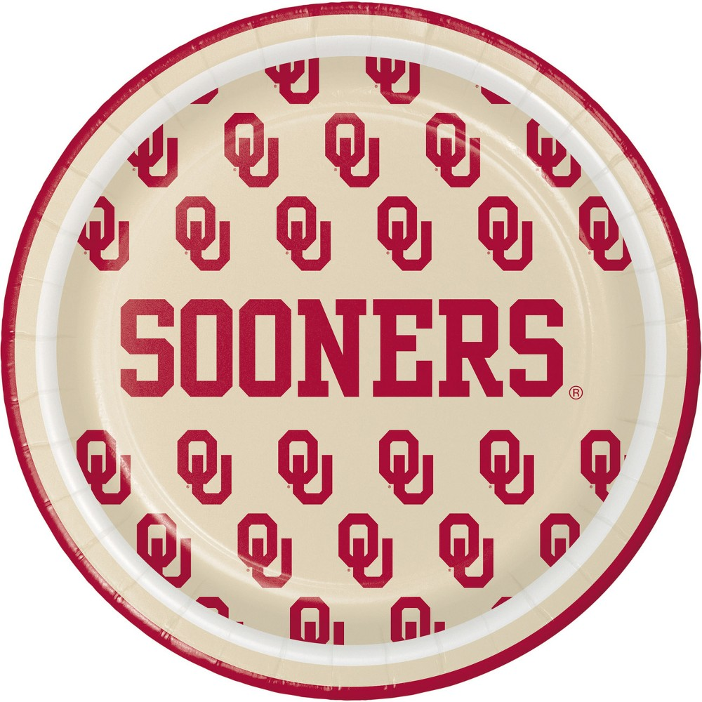 24ct University Of Oklahoma Sooners Dessert Plates Red