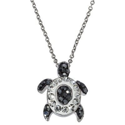 Silver Plate Black & White Turtle Pendant Necklace with Crystals - Silver
