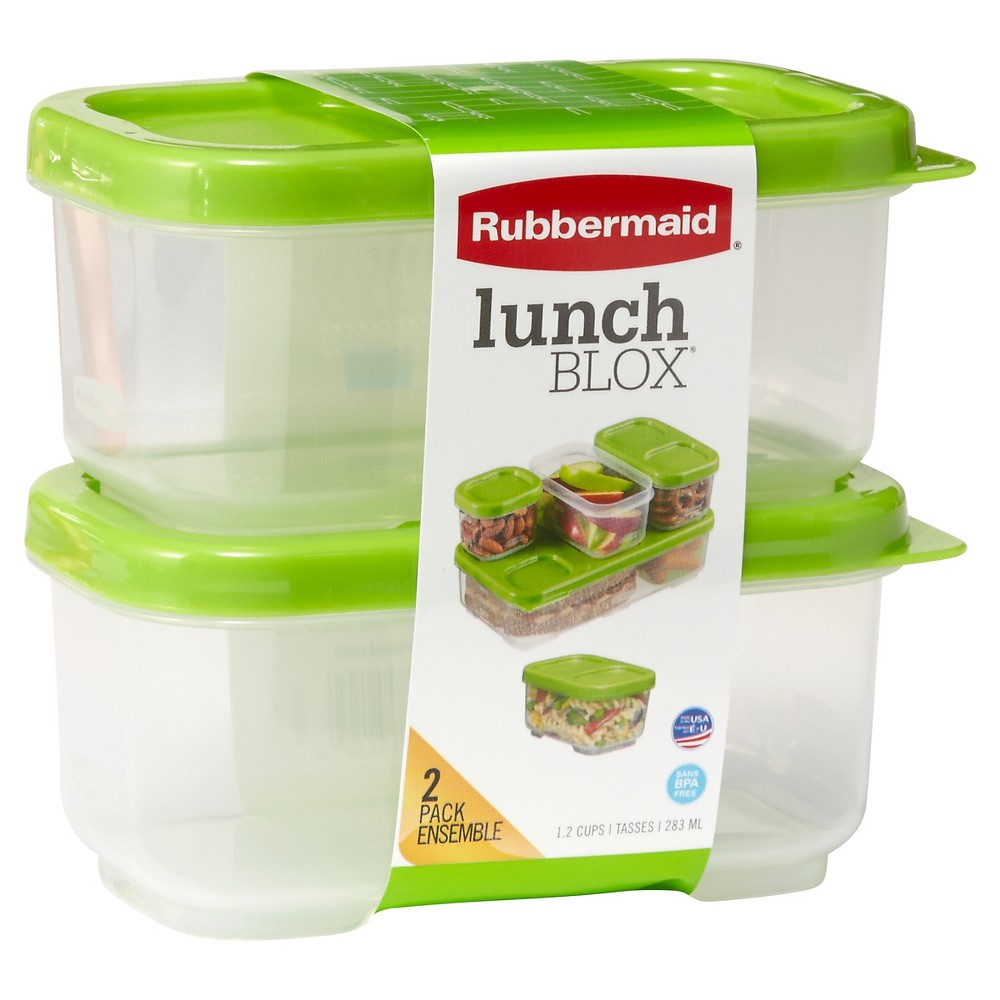 Rubbermaid LunchBlox Side Container - 1.2 Cup 2pk, Green