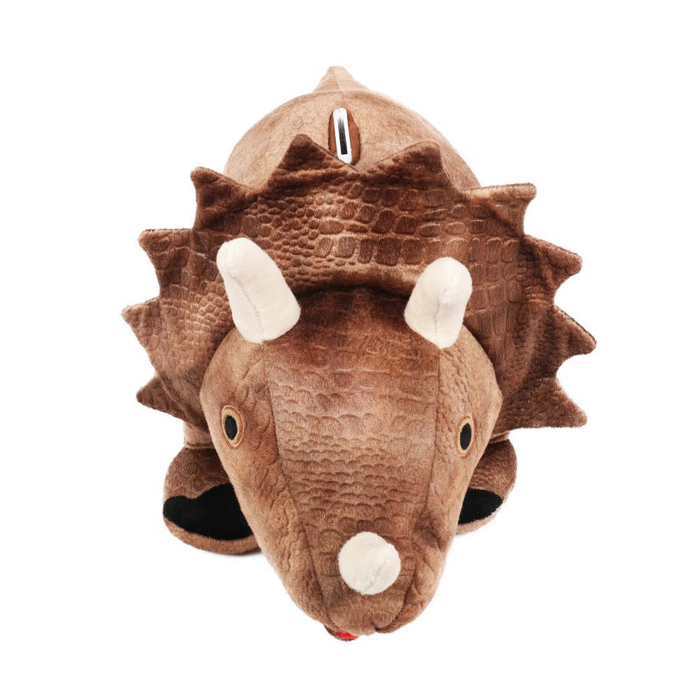 Image of Plush Dino Bank Brown, Brown Velvet